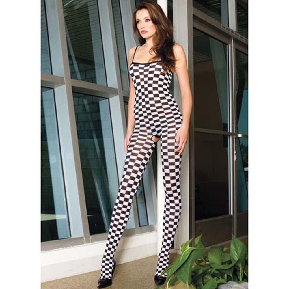 Checker Bodystocking with Spaghetti Straps Black and White - View #1