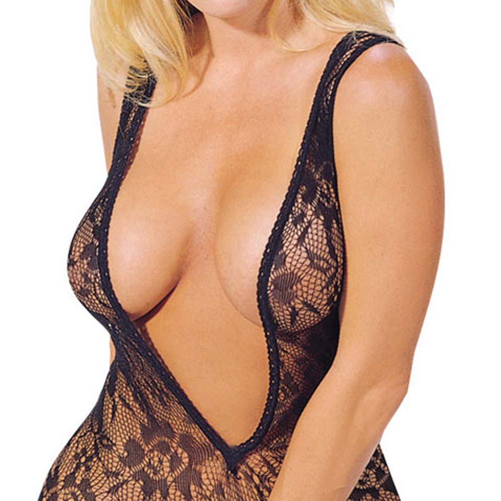 Seamless Floral Lace V Neck Bodystocking Black - View #1