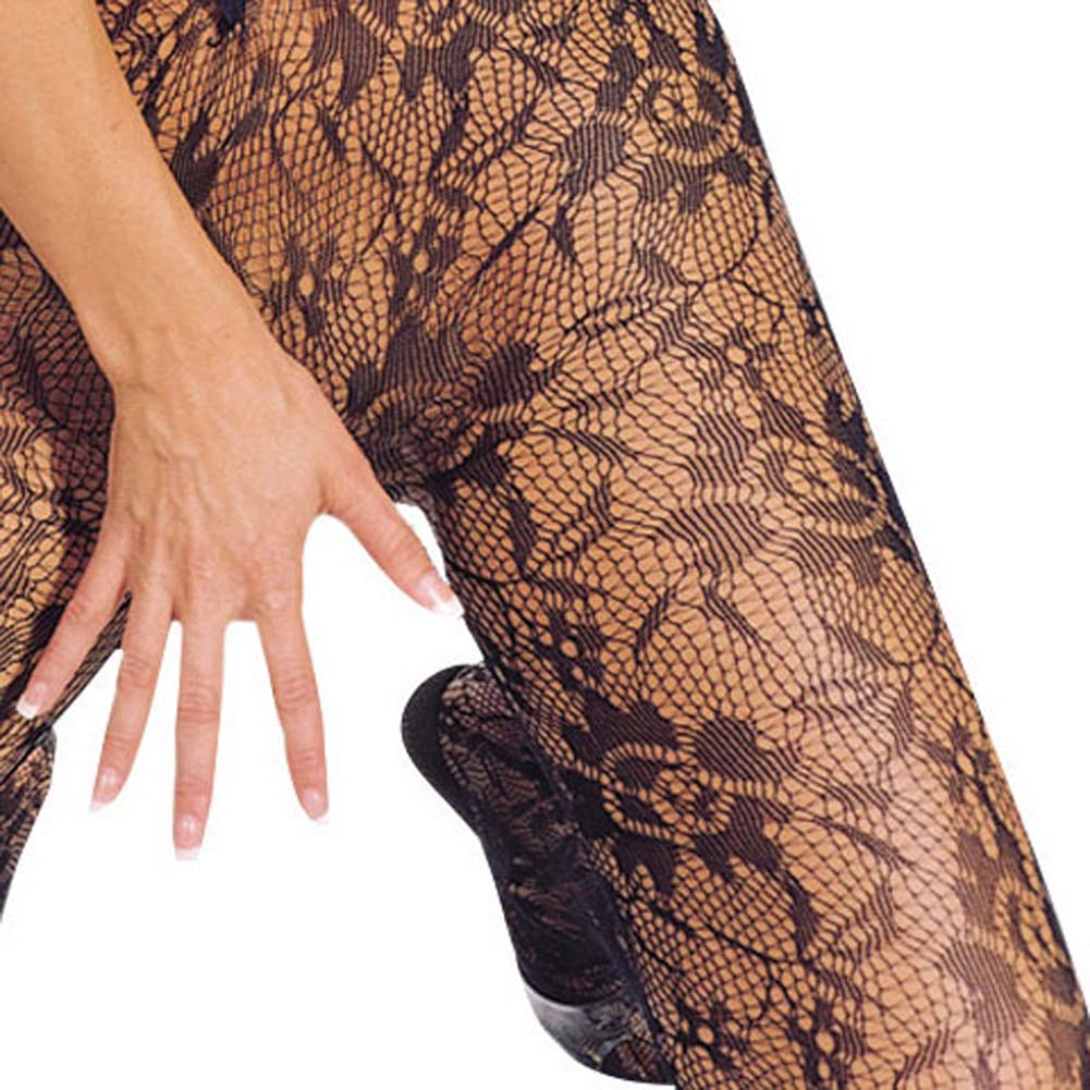 Seamless Floral Lace V Neck Bodystocking Black - View #3