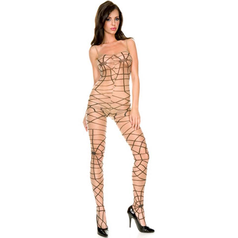 Sheer Spider Web Bodystocking with Open Crotch Beige - View #1