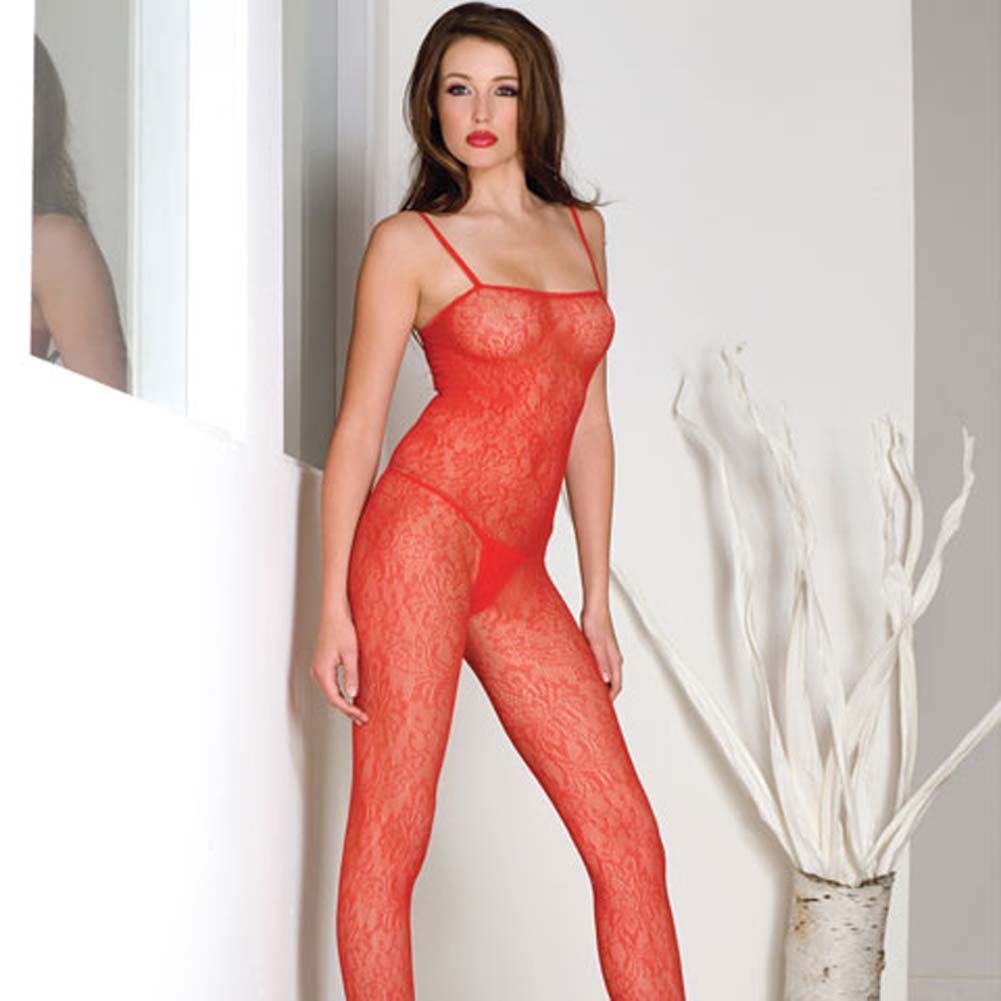 Seamless Spanish Lace Bodystocking Red - View #2