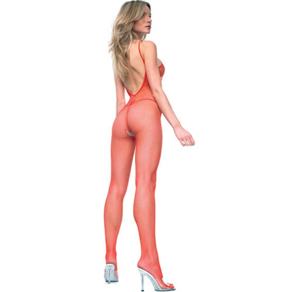 Seamless V Back Fishnet Crotchless Bodystocking Red - View #1
