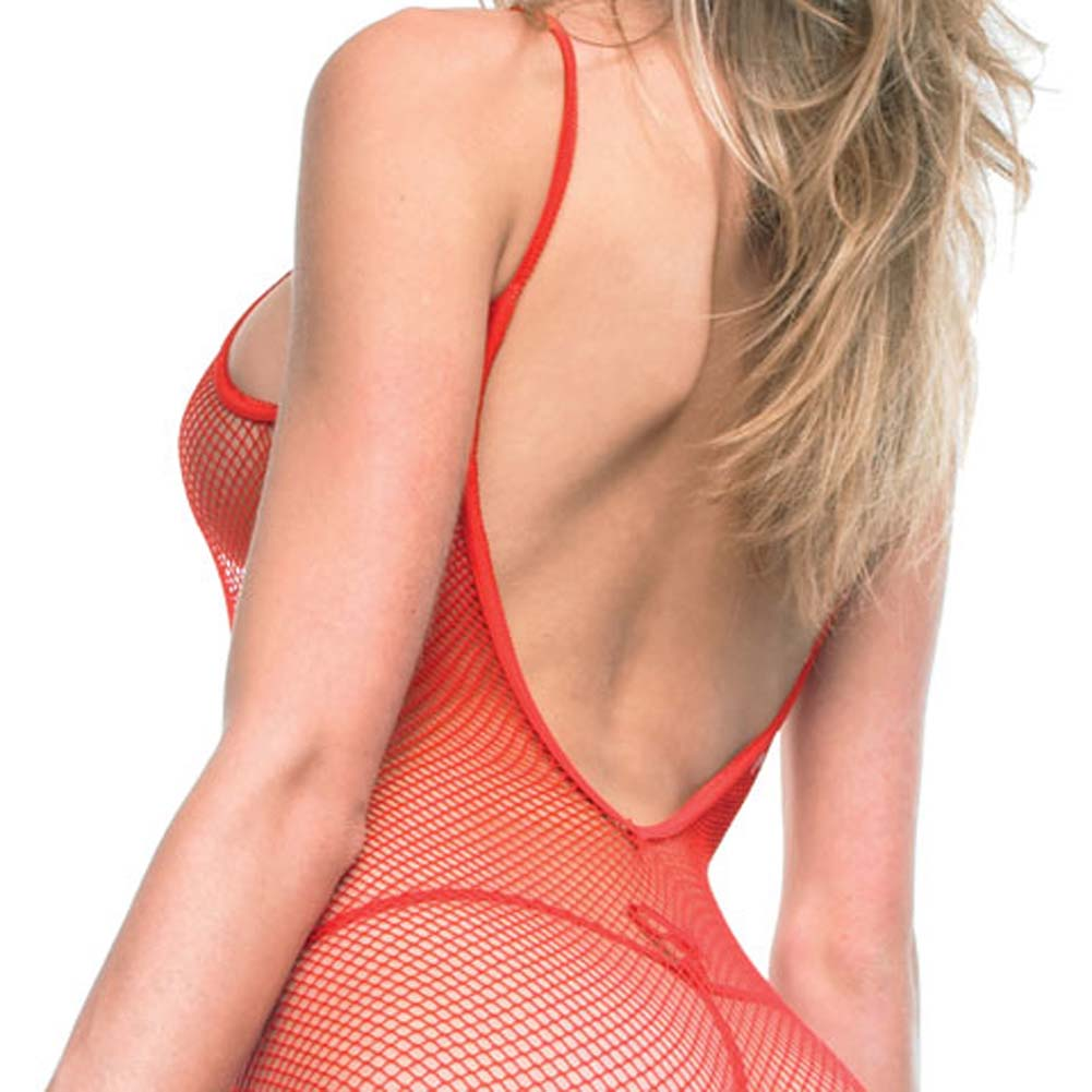 Seamless V Back Fishnet Crotchless Bodystocking Red - View #3