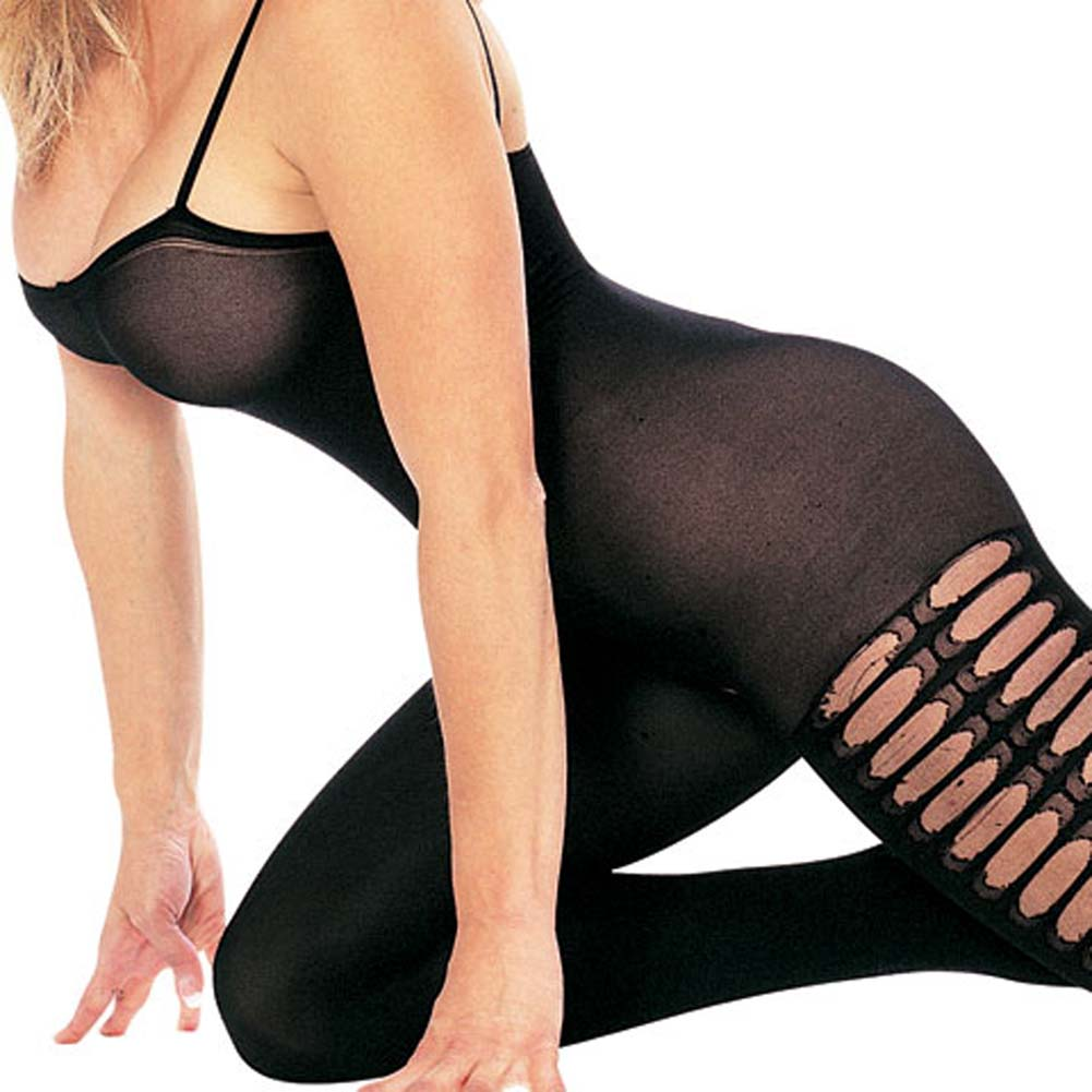 Opaque Side Crochet Bodystocking with Open Crotch Black - View #1