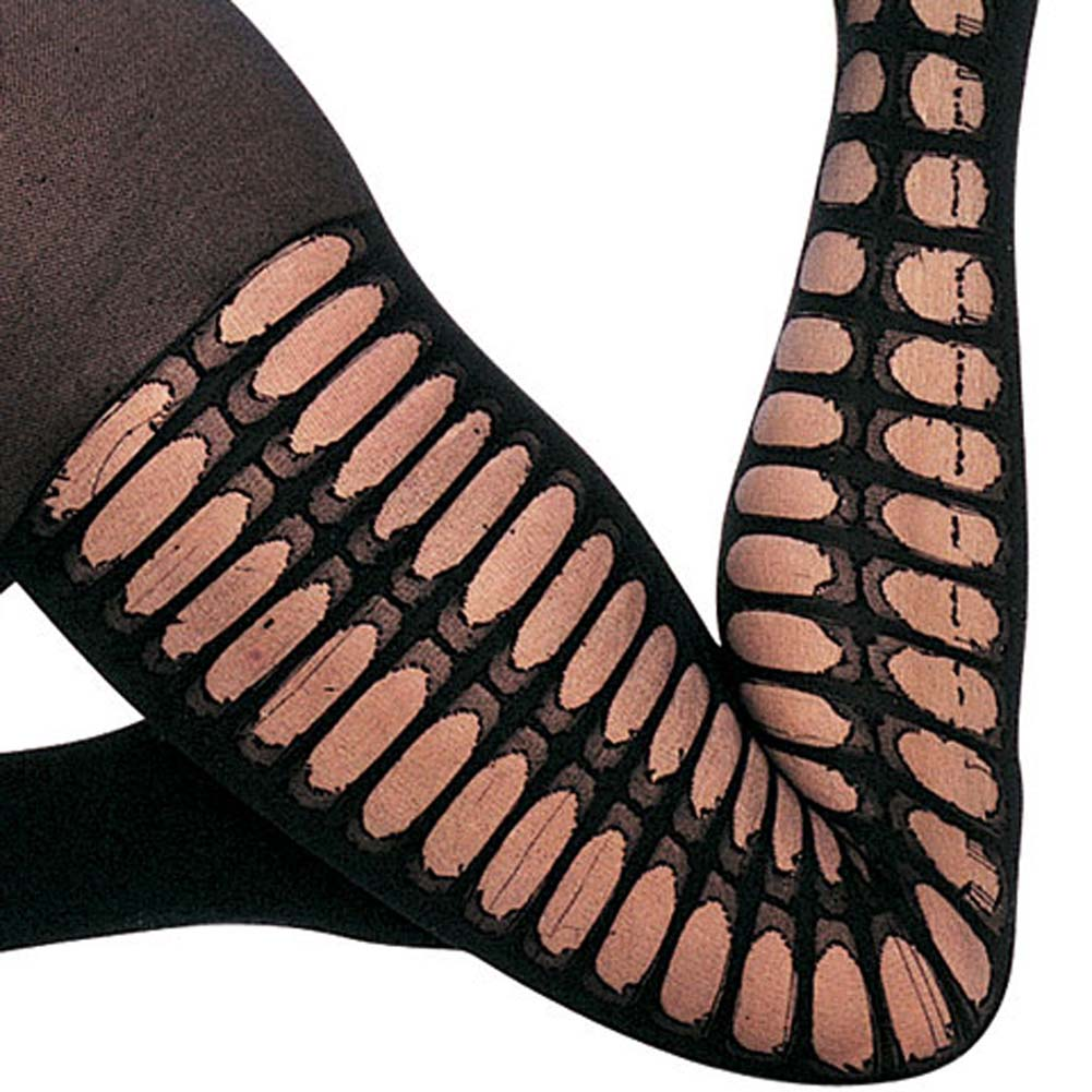 Opaque Side Crochet Bodystocking with Open Crotch Black - View #3
