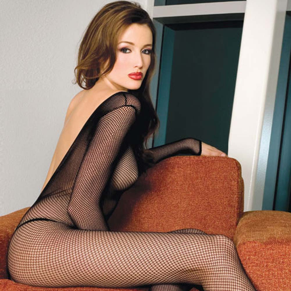 V Back Long Sleeved Fishnet Crotchless Bodystocking Black - View #2
