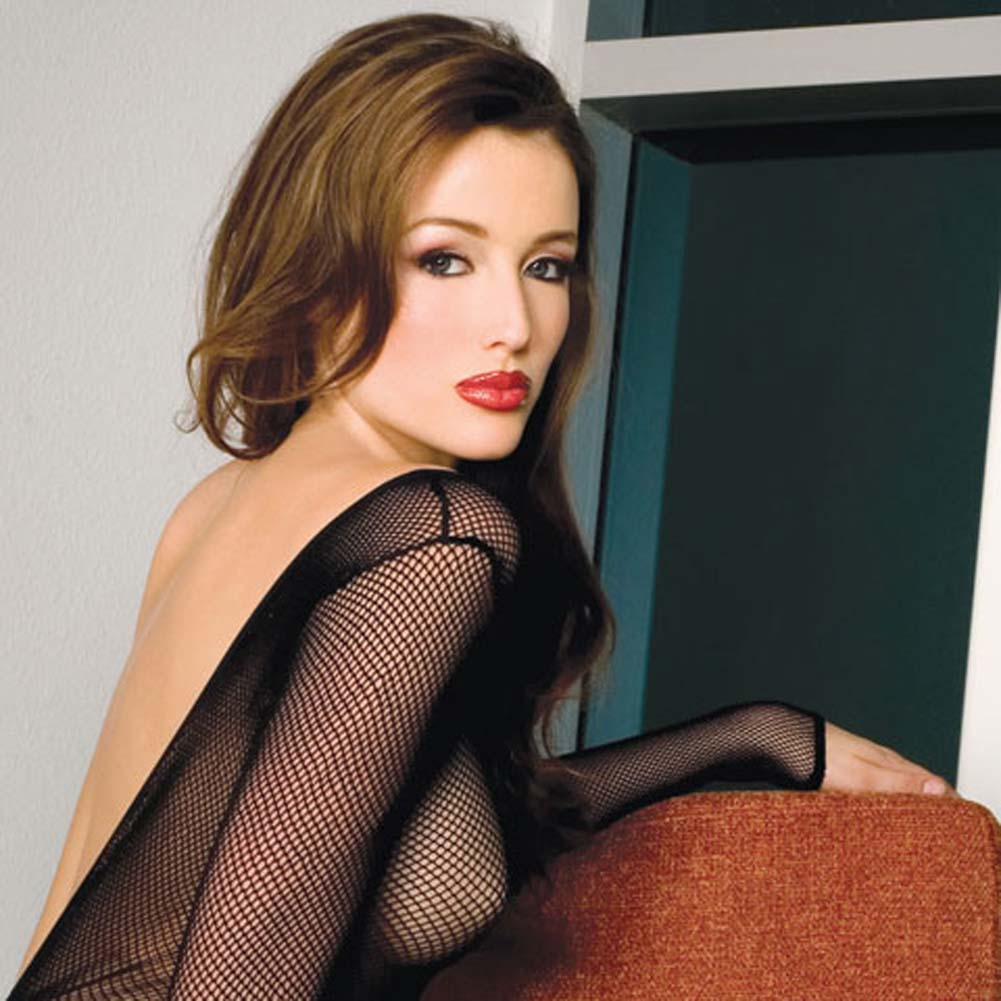 V Back Long Sleeved Fishnet Crotchless Bodystocking Black - View #4