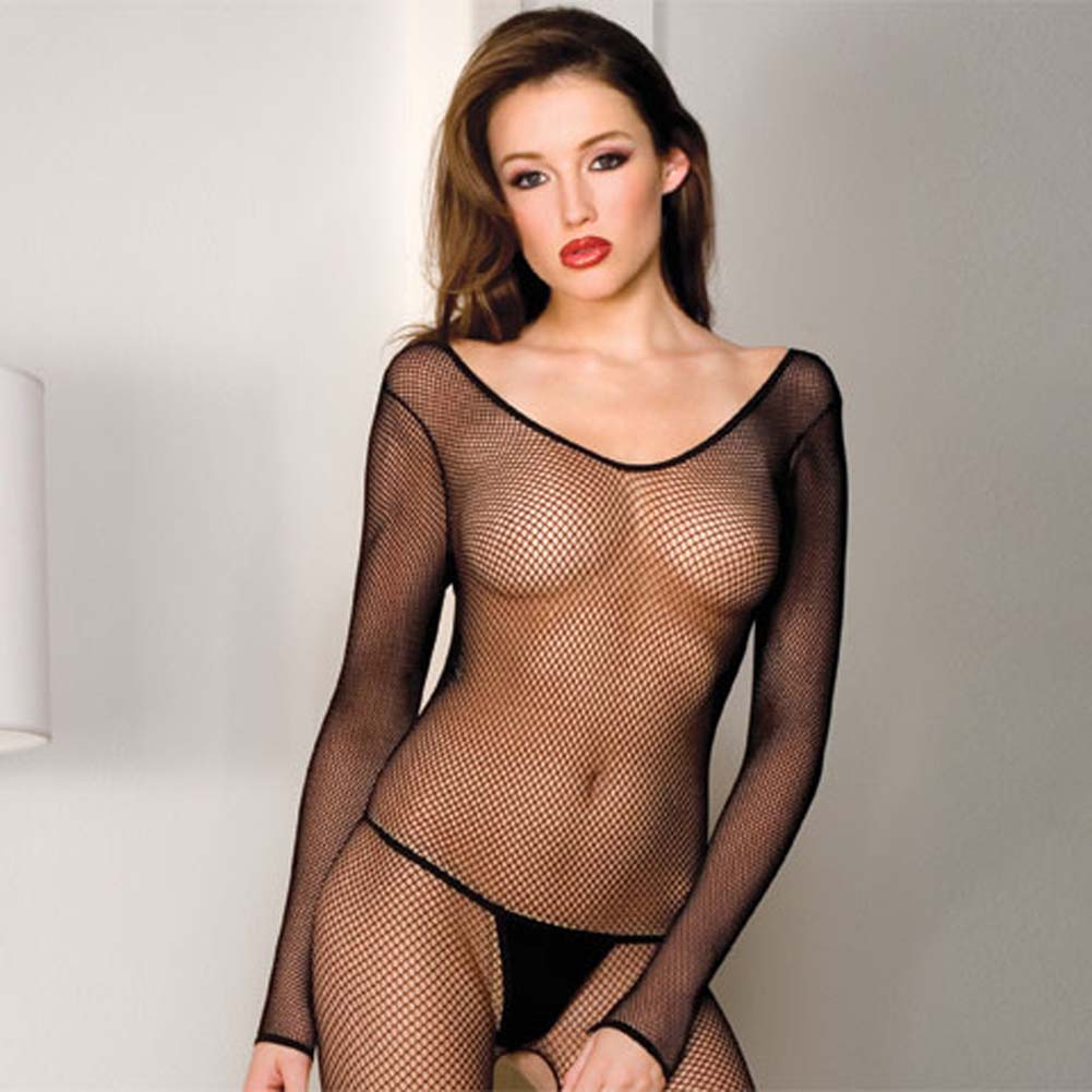 Seamless Fishnet Scoop Neck Long Sleeved Bodystocking Black - View #2