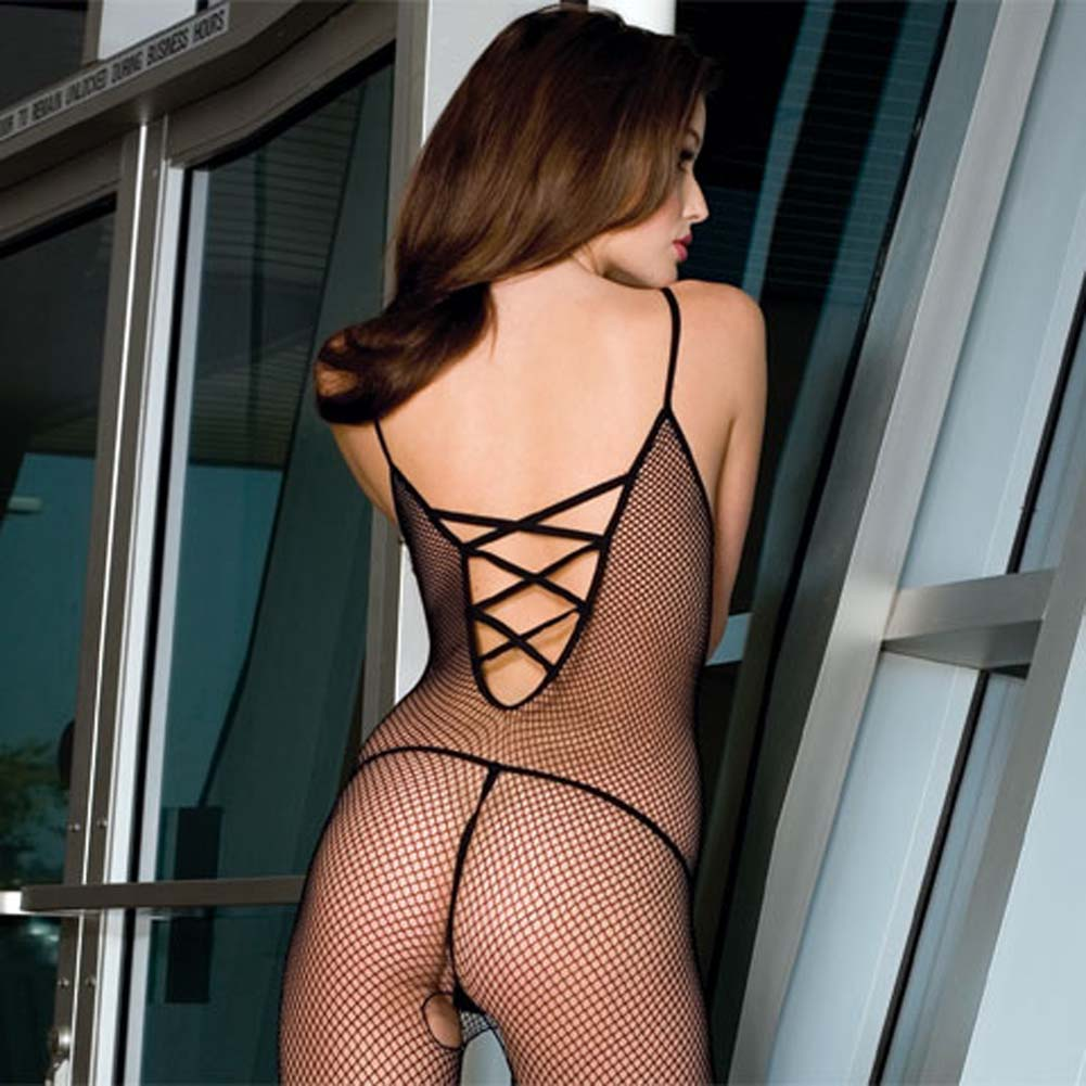 Seamless Fishnet Bodystocking with Criss Cross Back Black - View #2