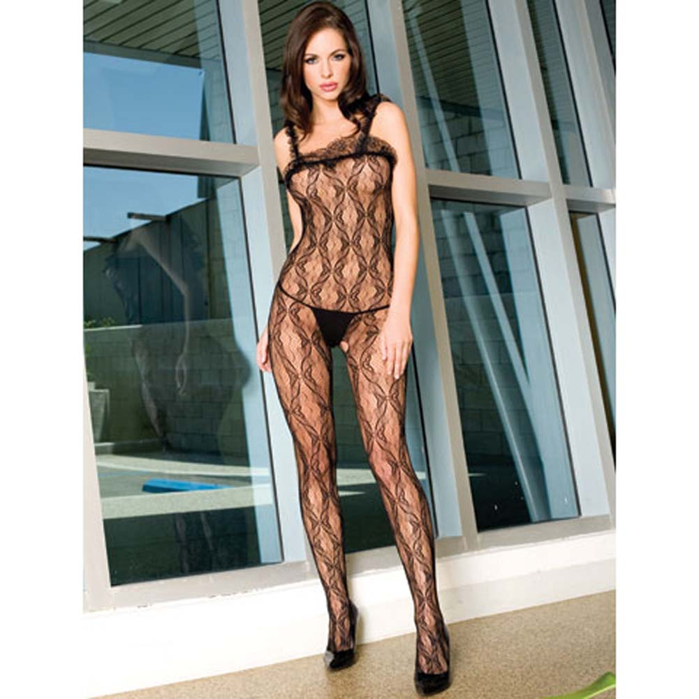 Seamless Bow Lace Crotchless Bodystocking Black - View #1
