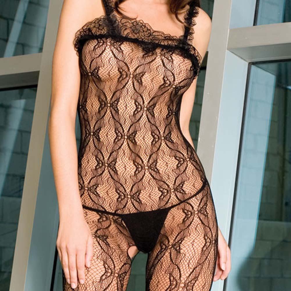 Seamless Bow Lace Crotchless Bodystocking Black - View #3