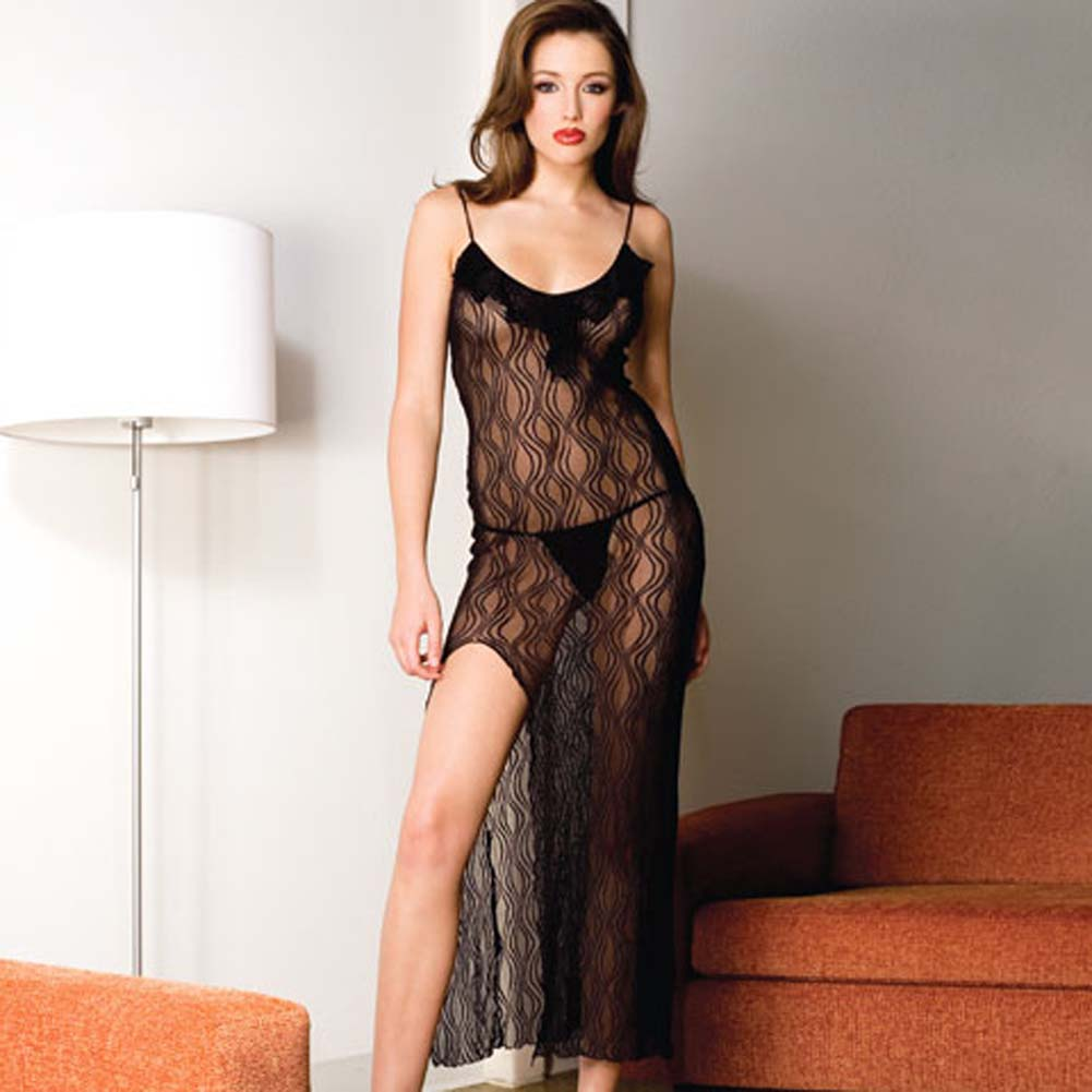 Lace Trim Long Gown with Side Slit and Thong 2 Pc Set Black - View #1