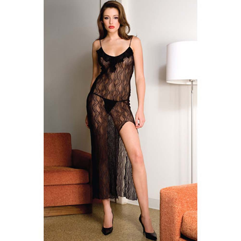 Lace Trim Long Gown with Side Slit and Thong 2 Pc Set Black - View #3