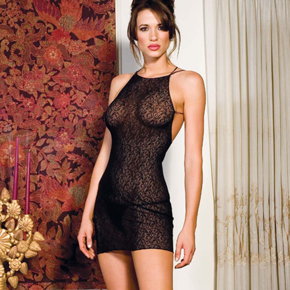 Lace Chemise with Double X Back Straps Black - View #2