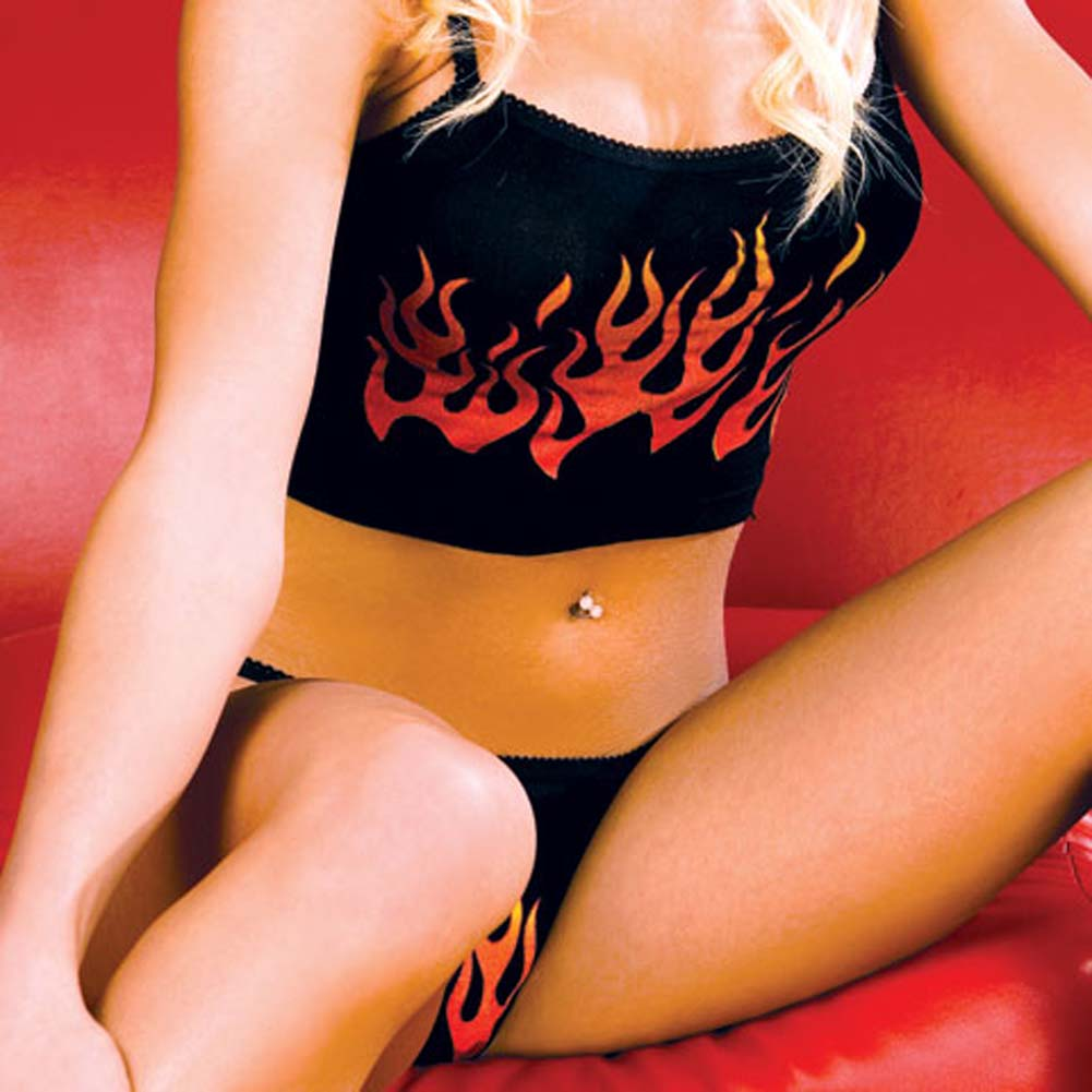 Flame Print Top with Matching Thong Black and Red - View #3