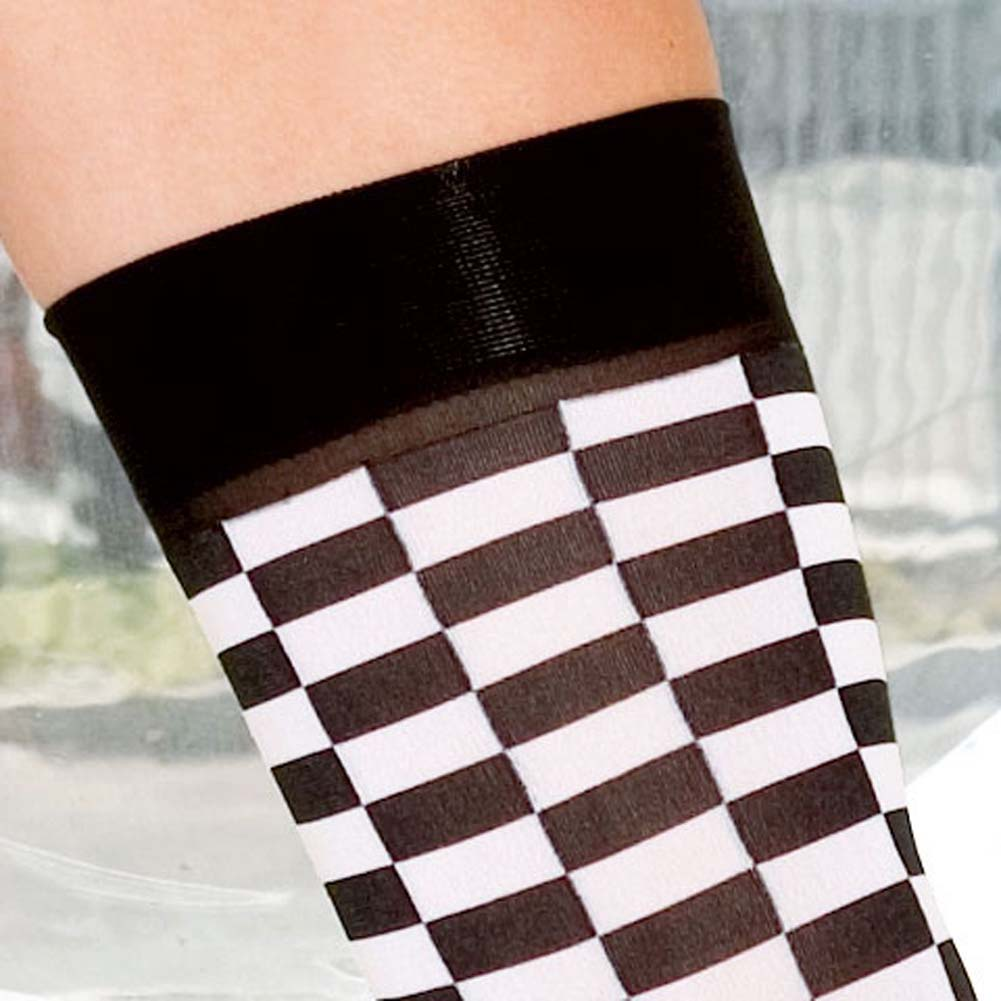 Checker Tube Top with Thong and Thigh Hi Set Black and White - View #4