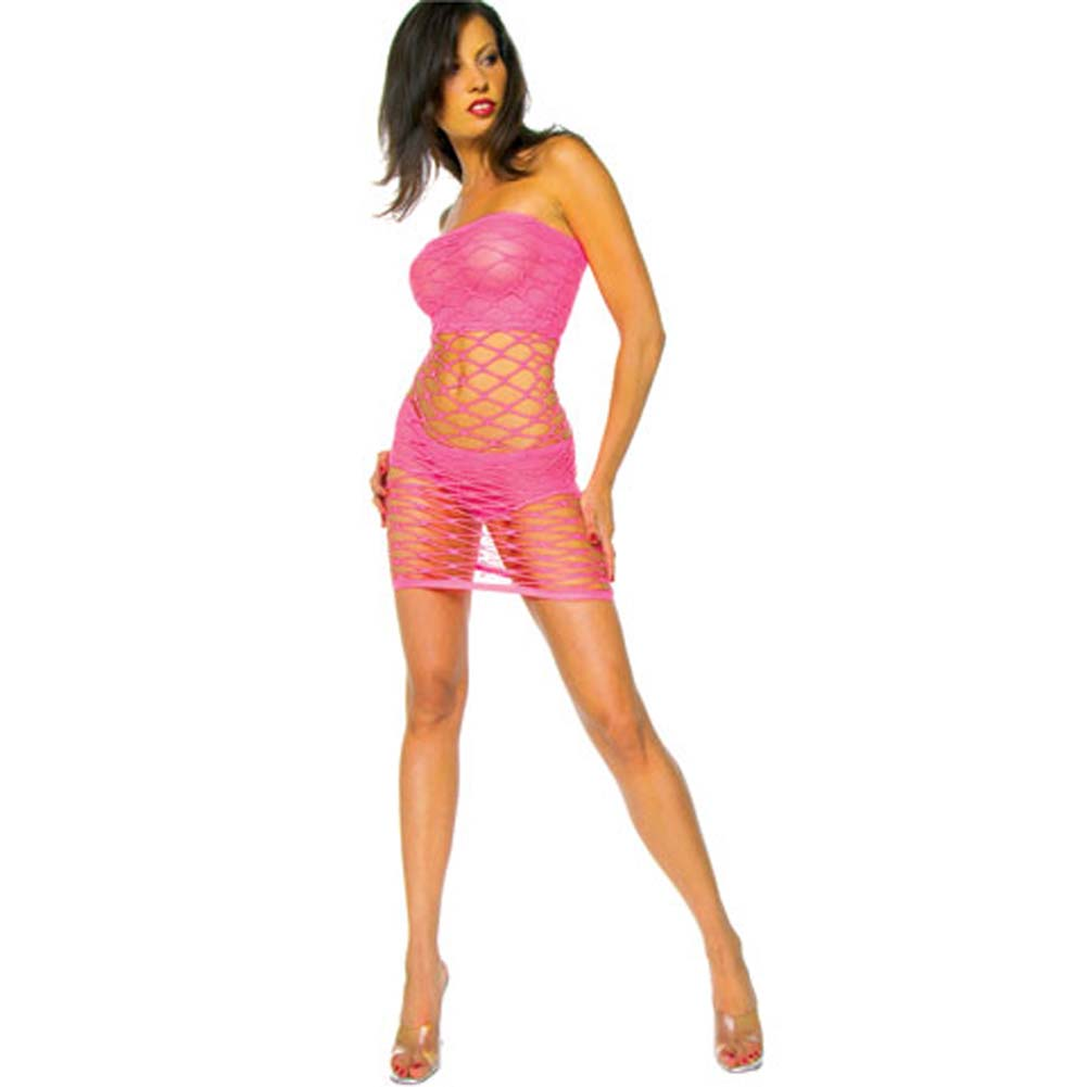 Wide Fence Net Tube Dress with Tube and Shorts Lining Pink - View #3