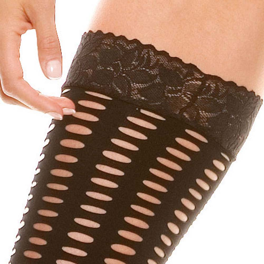 Crochet Lace Up Tube Top G-String and Thigh Hi Set Black - View #4