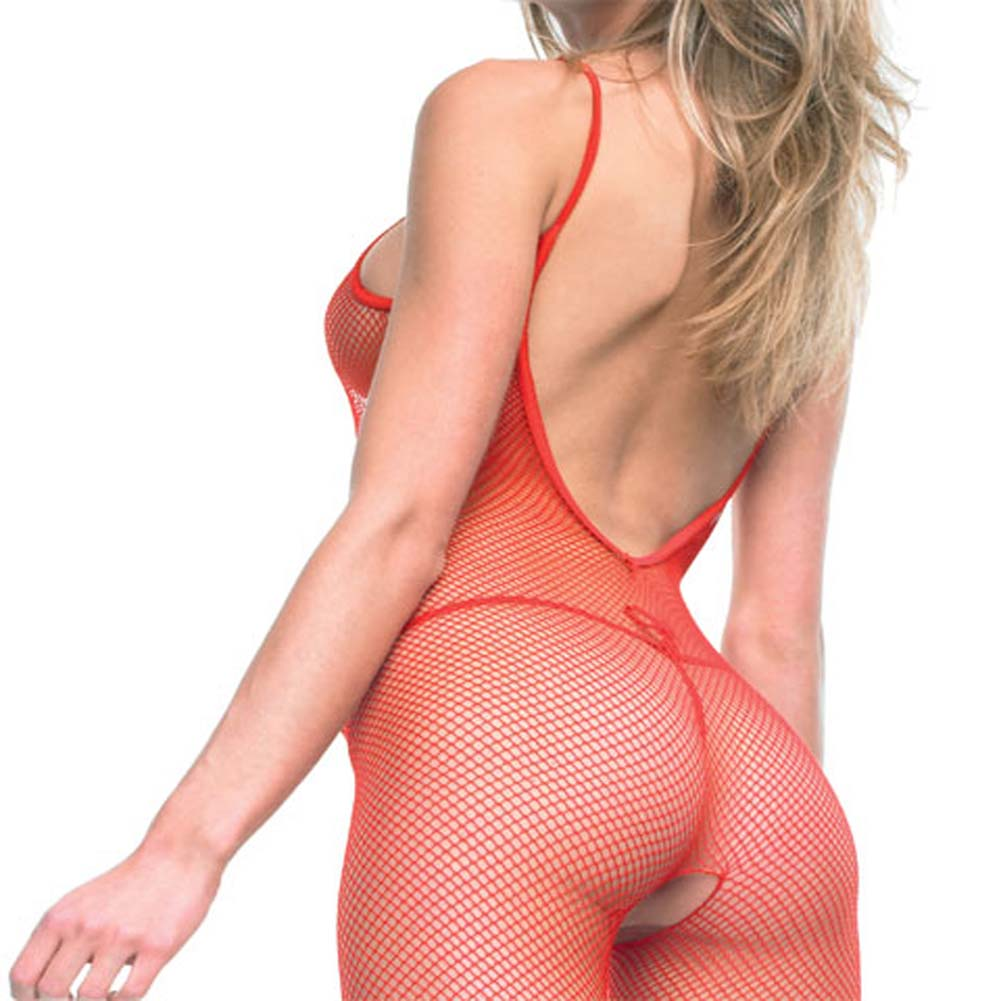Seamless V Back Fishnet Crotchless Bodystocking Plus Size - View #2