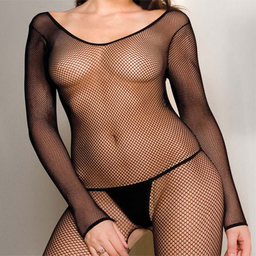 Seamless Fishnet Scoop Neck Long Sleeved Bodystocking Plus - View #2