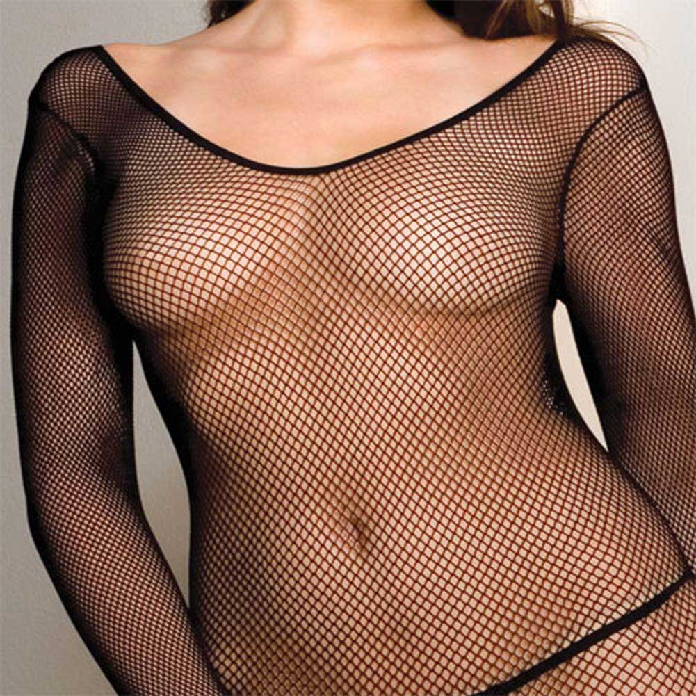 Seamless Fishnet Scoop Neck Long Sleeved Bodystocking Plus - View #4