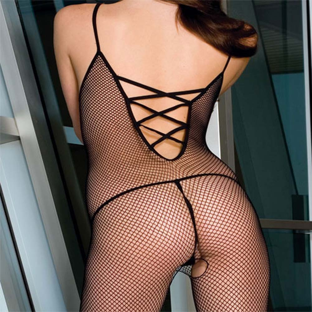 Seamless Fishnet Bodystocking with Criss Cross Back Plus - View #2