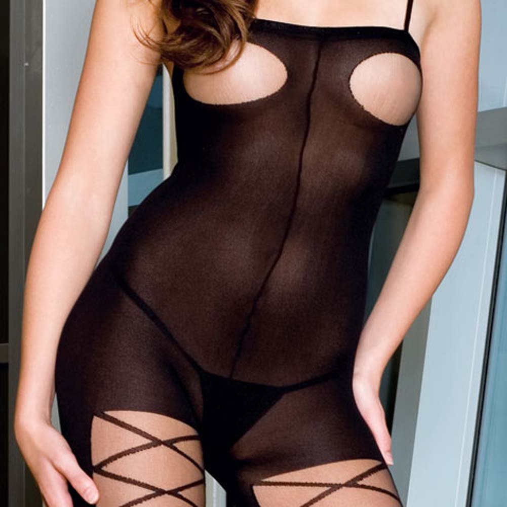 Opaque Open Bust Criss Cross Bodystocking with Open Crotch - View #3