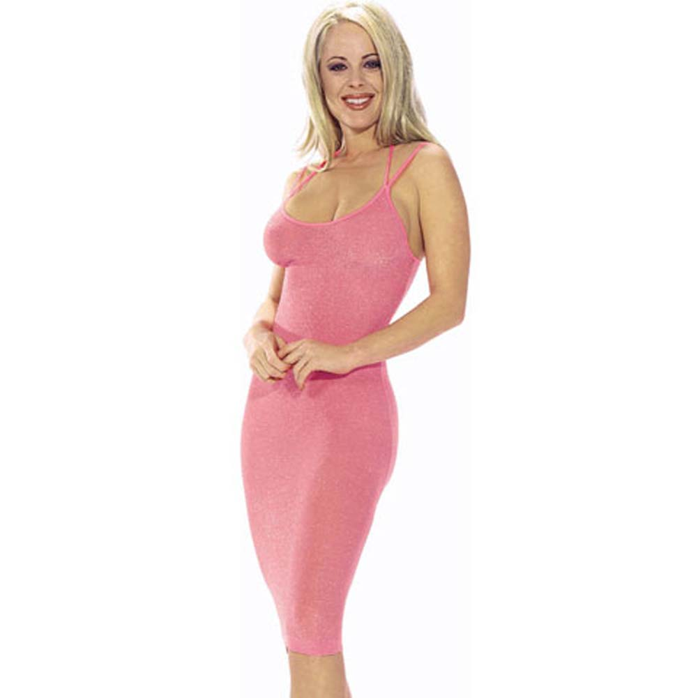 Lurex Gown with Double Spaghetti Straps Pink/Silver - View #2