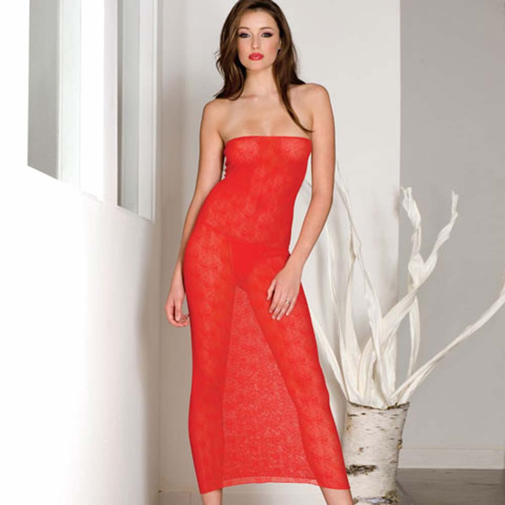Seamless Bow Lace Tube Gown Red - View #2