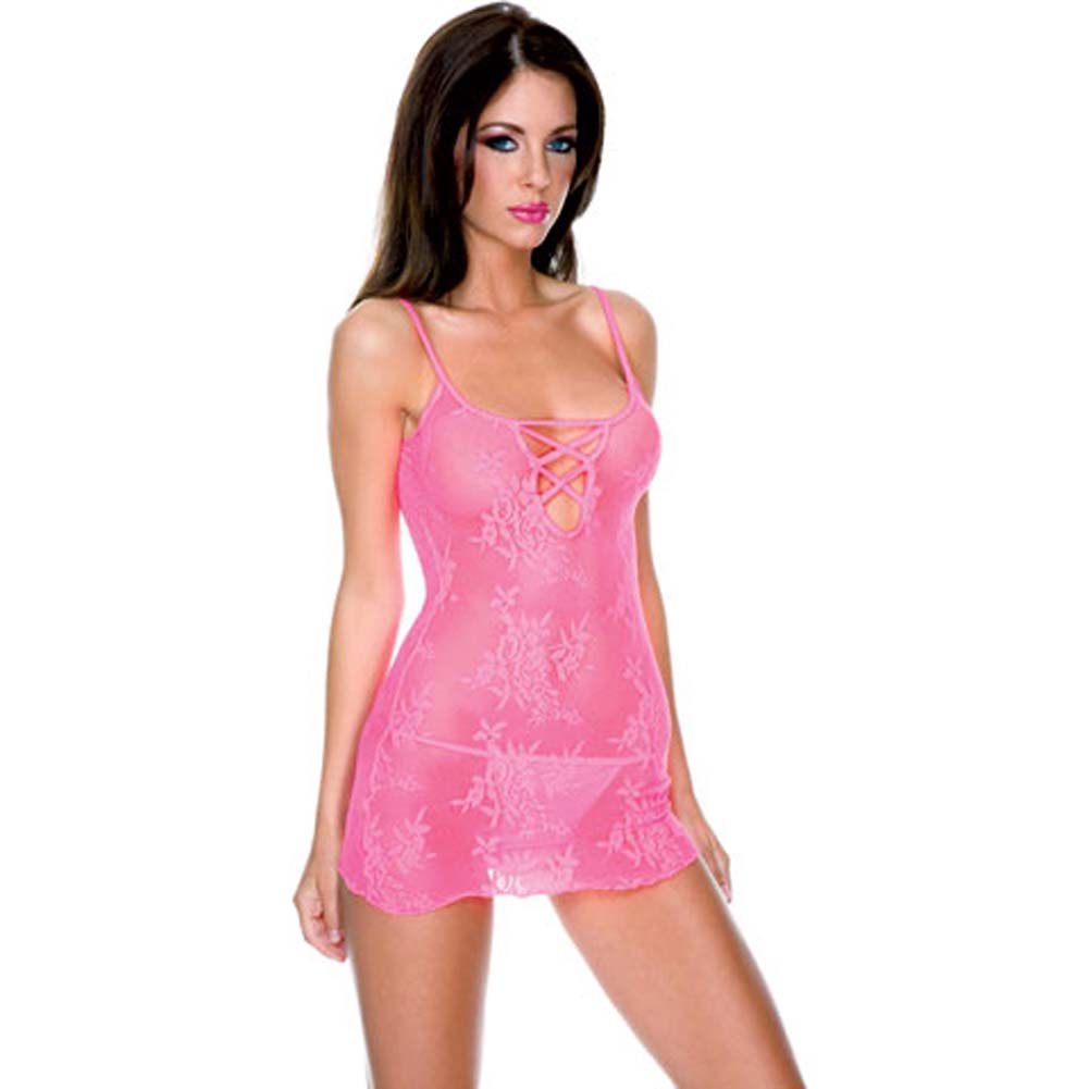 Stretch Lace Mini with Criss Cross and Thong Set Hot Pink - View #1