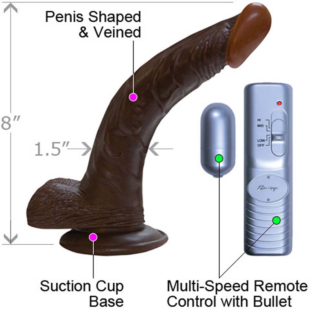 """RealSkin Afro American Whoppers 8"""" Realistic Vibrator with Balls Ebony - View #1"""
