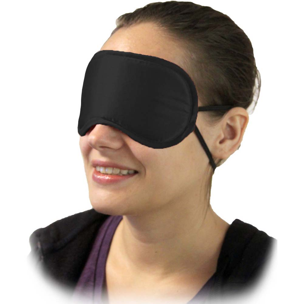 Satin Love Double Strap Blindfold Eye Mask Mystic Black - View #2