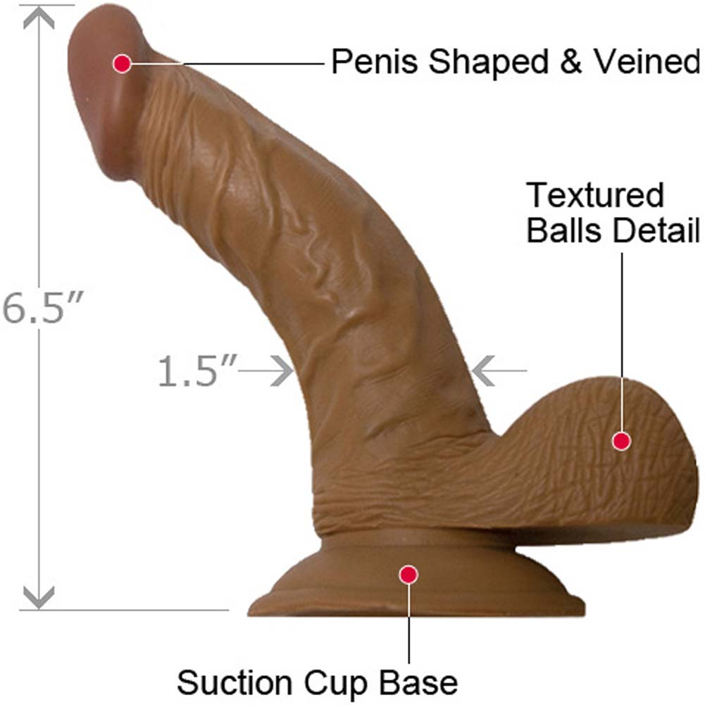 "RealSkin Latin American Whoppers Ballsy Dong 6.5"" Brown - View #1"