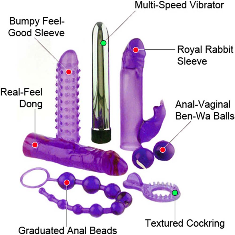 Royal Rabbit Kit with 6 Purple Jelly Items and Silver Vibe - View #1