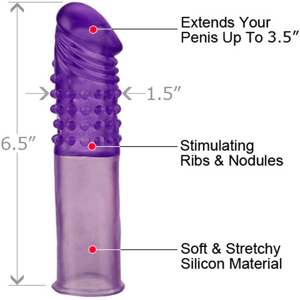 "Mega Stretch Silicone Penis Extension 6.5"" Sexy Purple - View #1"