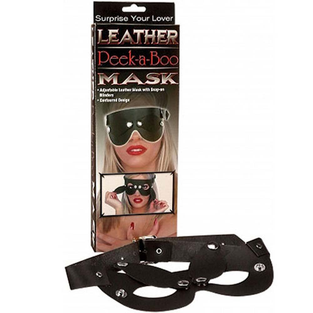 Leather Peek a Boo Mask Black - View #1