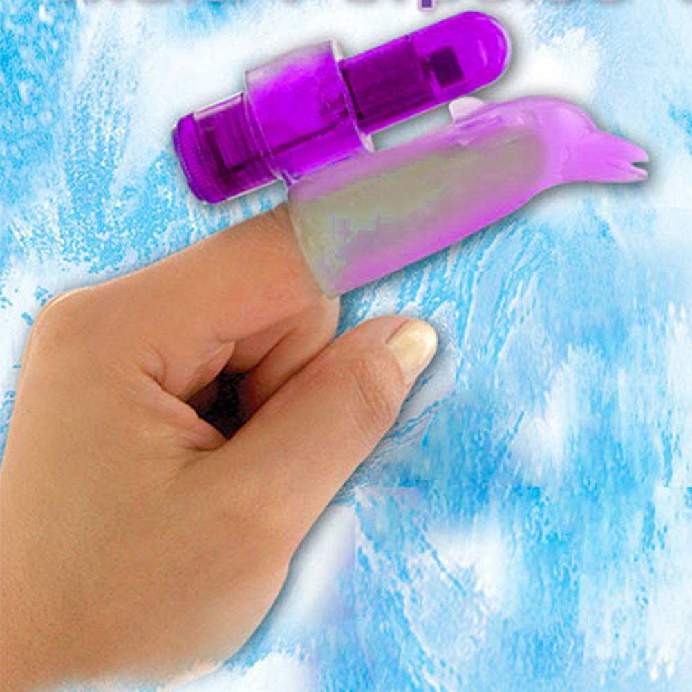 Waterproof Finger Fun Dolphin Mini Vibe Purple 3.25 In. - View #1