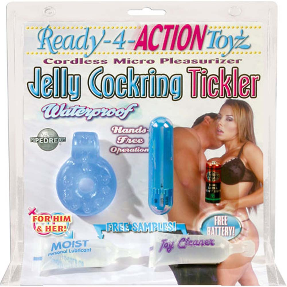 Ready 4 Action Waterproof Jelly Vibrating Cockring Tickler - View #3