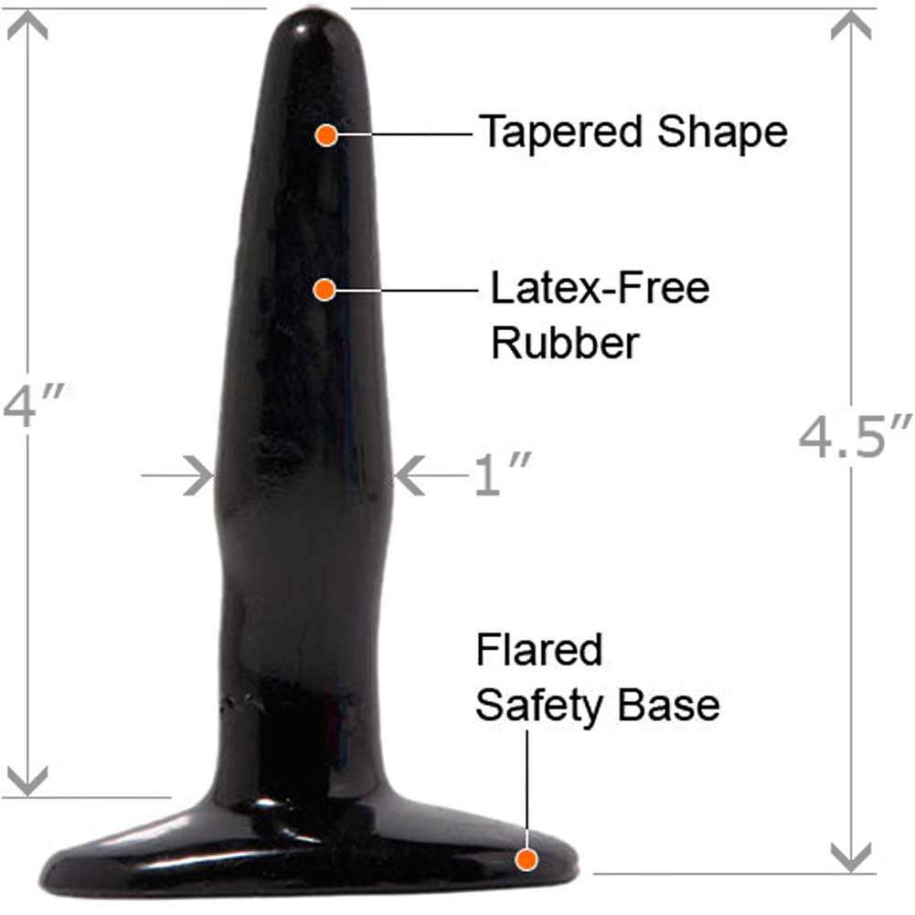 "Basix Rubber Works Mini Butt Plug 4.5"" Black - View #1"