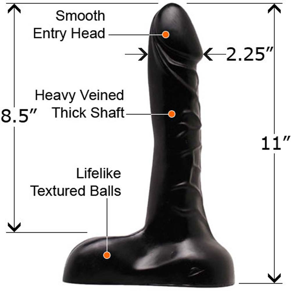 "Size Queenz Professional Grade Jackhammer Dong 11"" Ebony - View #2"