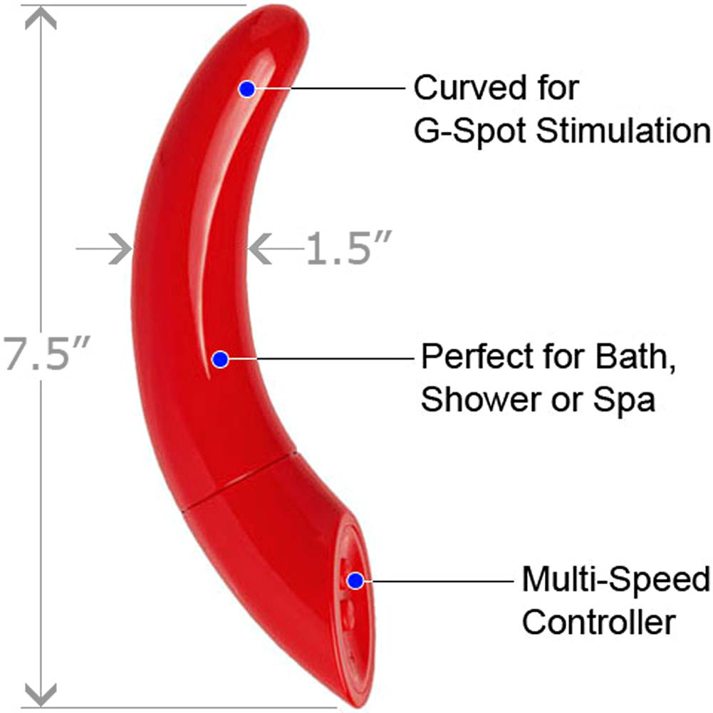 "Le Reve Ergonomic Waterproof G-Spot Vibrator 7.5"" Red - View #1"