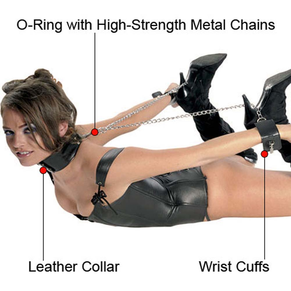 Fetish Fantasy Series Leather Collar and Cuffs Black - View #1