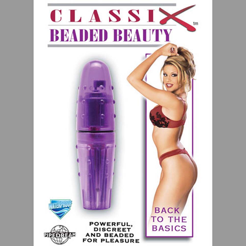 "Classix Beaded Beauty Waterproof Vibe 4.25"" Purple - View #3"