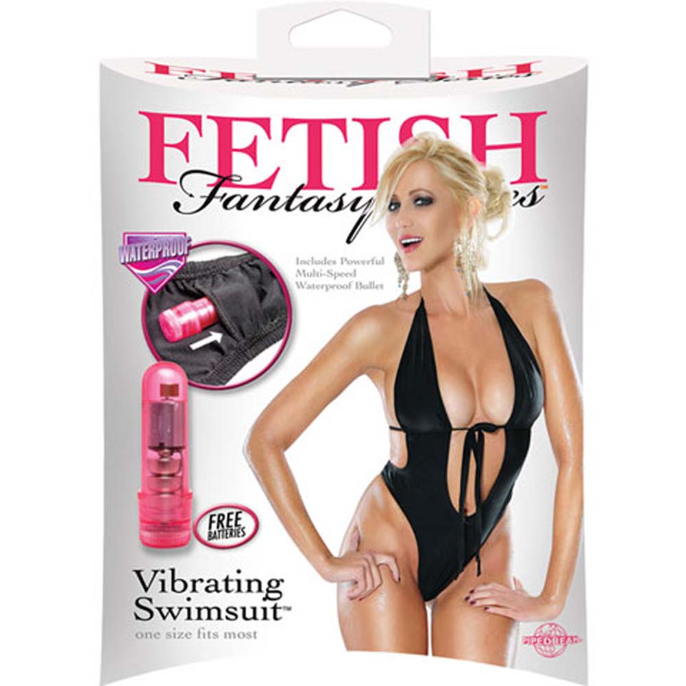 Fetish Fantasy Series Vibrating Monokini Swimsuit One Size Black - View #4