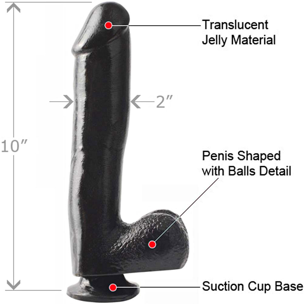 """Basix Rubber Works 10"""" Ballsy Dong with Suction Cup Black - View #1"""