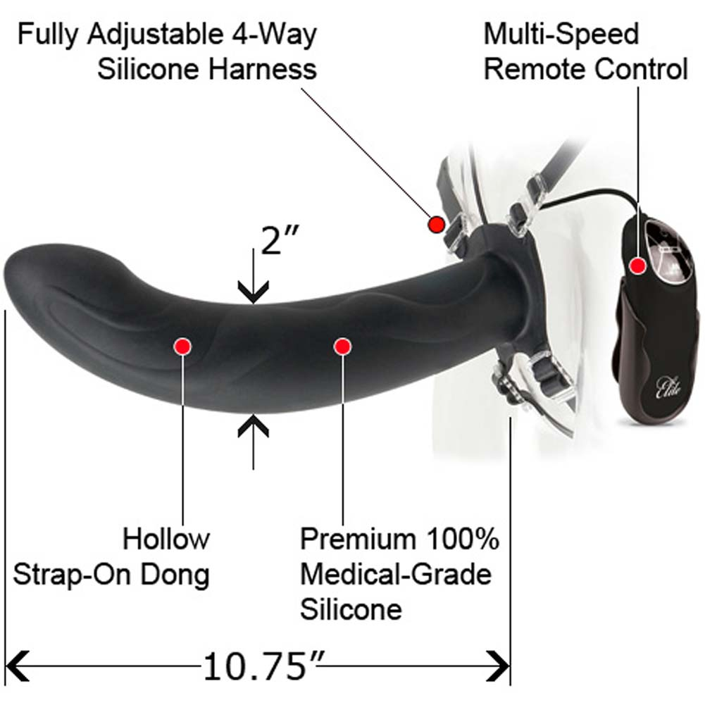 "Fetish Fantasy Elite 10"" Vibrating Hollow Strap-On Black - View #1"