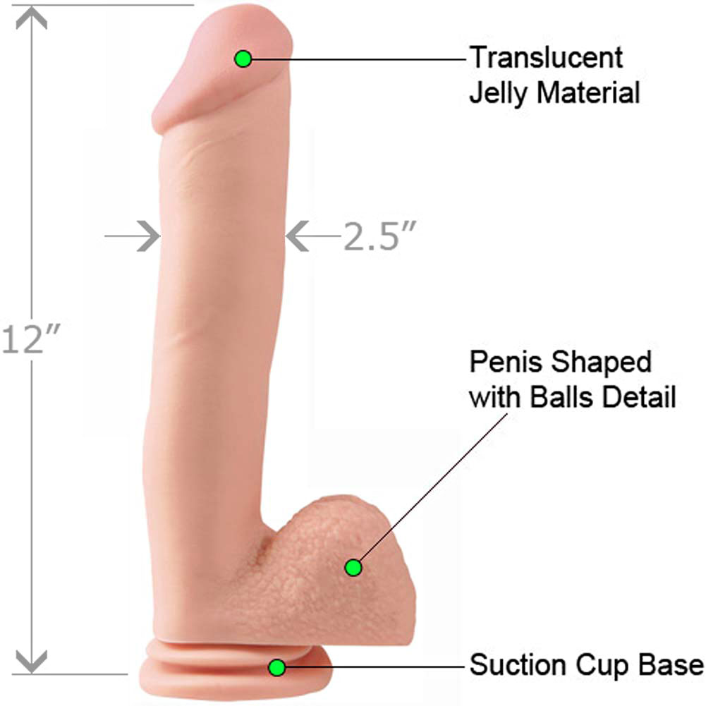 """Basix Rubber Works 12"""" Ballsy Dong with Suction Cup Natural - View #1"""