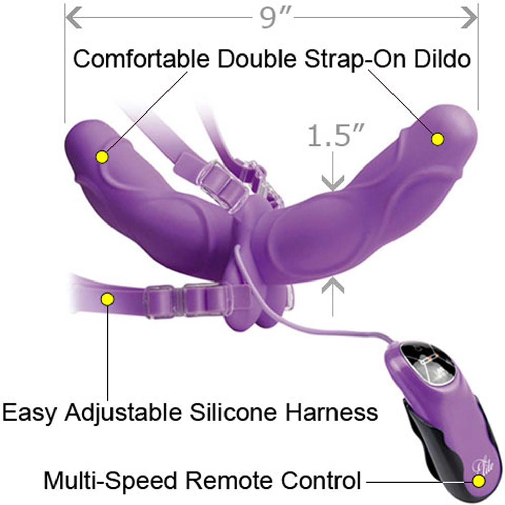 Fetish Fantasy Elite Vibrating Double Delight Strap-On Purple - View #1