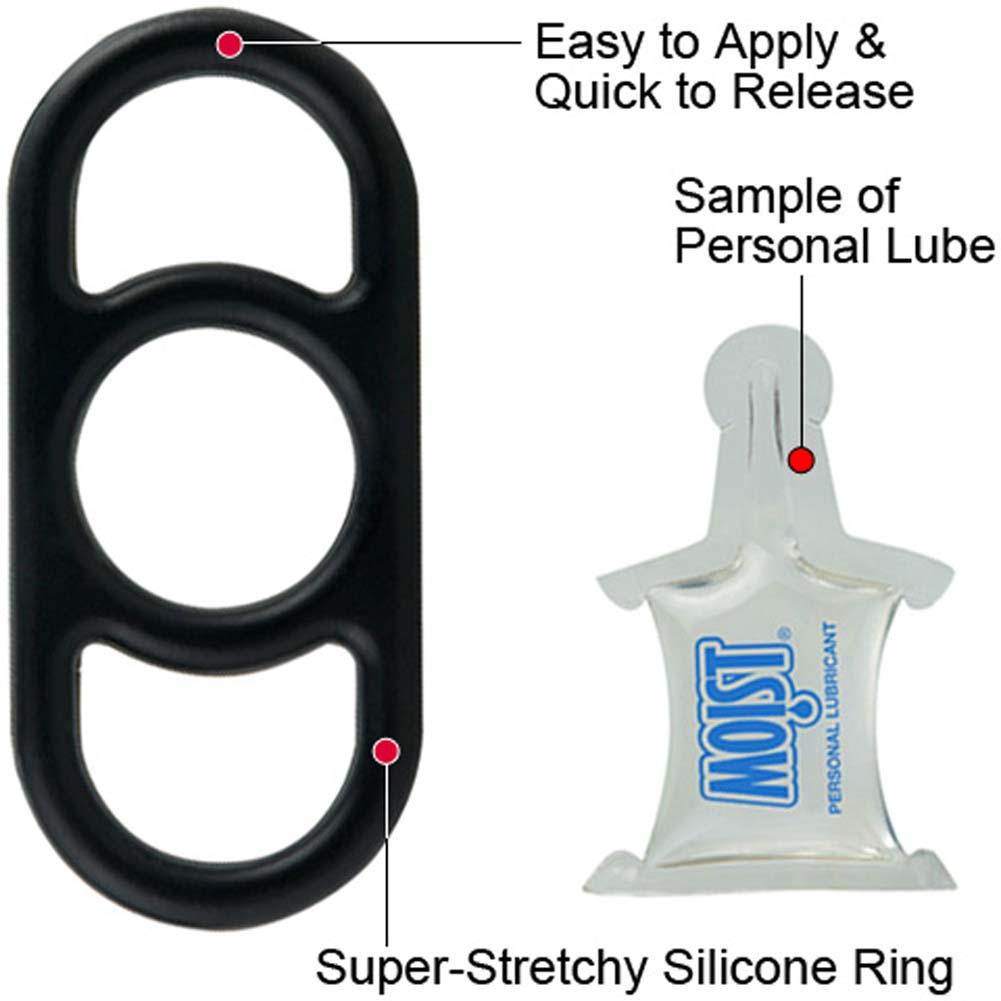 Quick Release Reusable Cock Ring with FREE Lube Sample Black - View #1