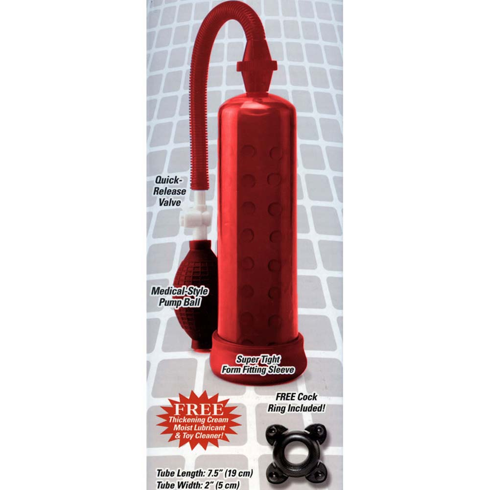 Pump Worx Silicone Power Pump with Enhancement Ring Red - View #3